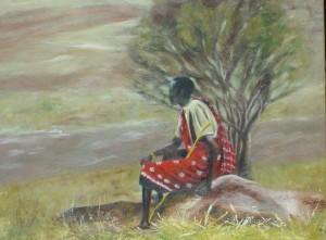 Masai man op steen