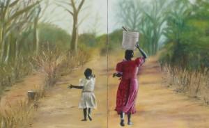 2-luik vrouw en kind water halen